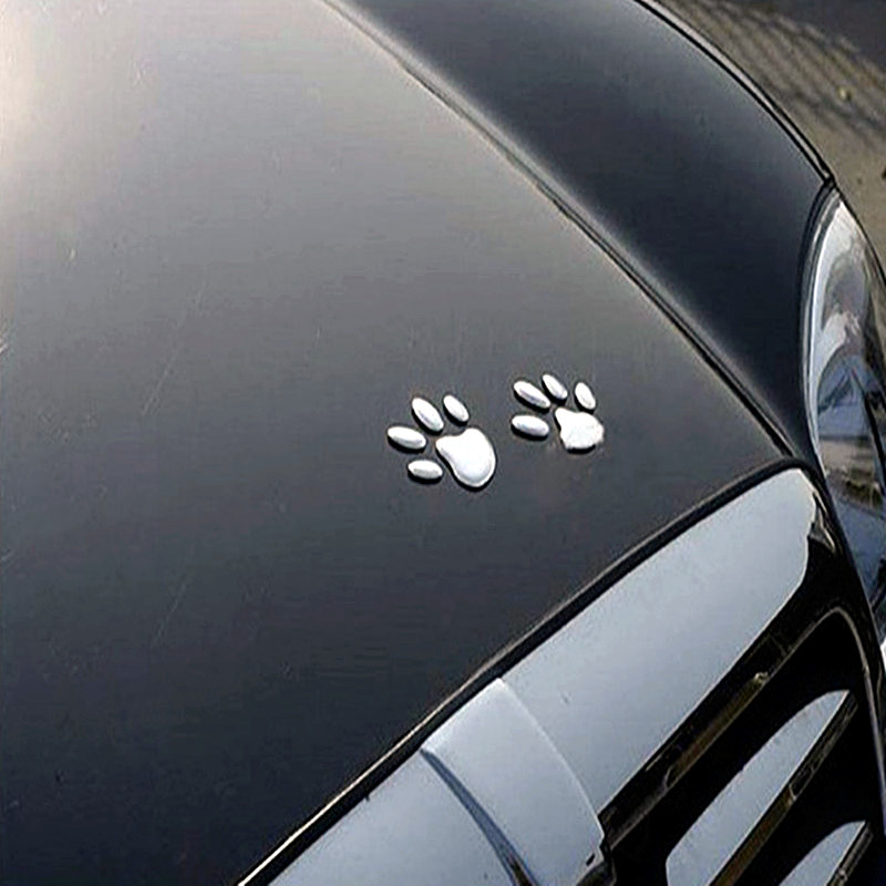 2Pcs/Set Car Sticker Cool Design Paw 3D Animal Dog Cat Bear Foot Prints Footprint Decal Car Stickers Silver Gold Red Accessories