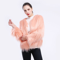 Womens leather jackets and coats Faux fur women's long sleeved large size lamb hair fake fur coat