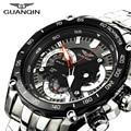 Original Big Dial GUANQIN Quartz Watch Men Luxury Brand Luminous Sport Watches Men Waterproof Clock Stainless Steel Wristwatch