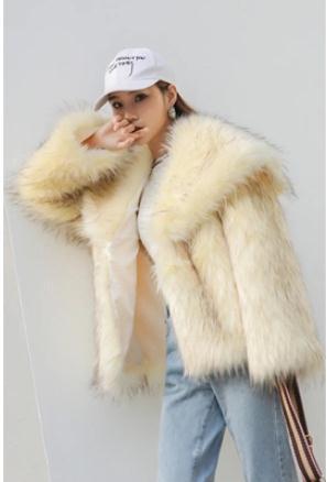 Faux J2623 Hiver Vêtements Coréenne Couleurs De Outwears Deux Yellow Chaud Tops Laveur Beige Vestes Section Raton Femelle Imitation Fourrure Courte v7bf6Ygy