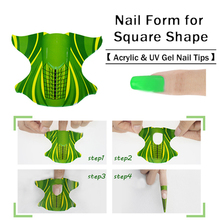 100pcs Roll Square Shape Adhesive Nail Form For Acrylic UV Gel Tip Extension Paper Holder Manicure Nail Art Tool