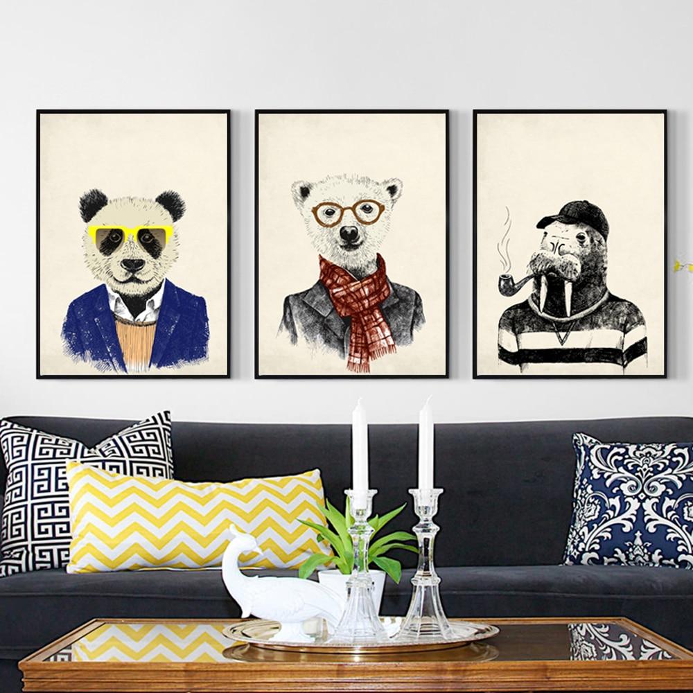 Retro módní zvíře kreslený jelen medvěd králík abstraktní plátno malba umění tisk plakátu nástěnné malby