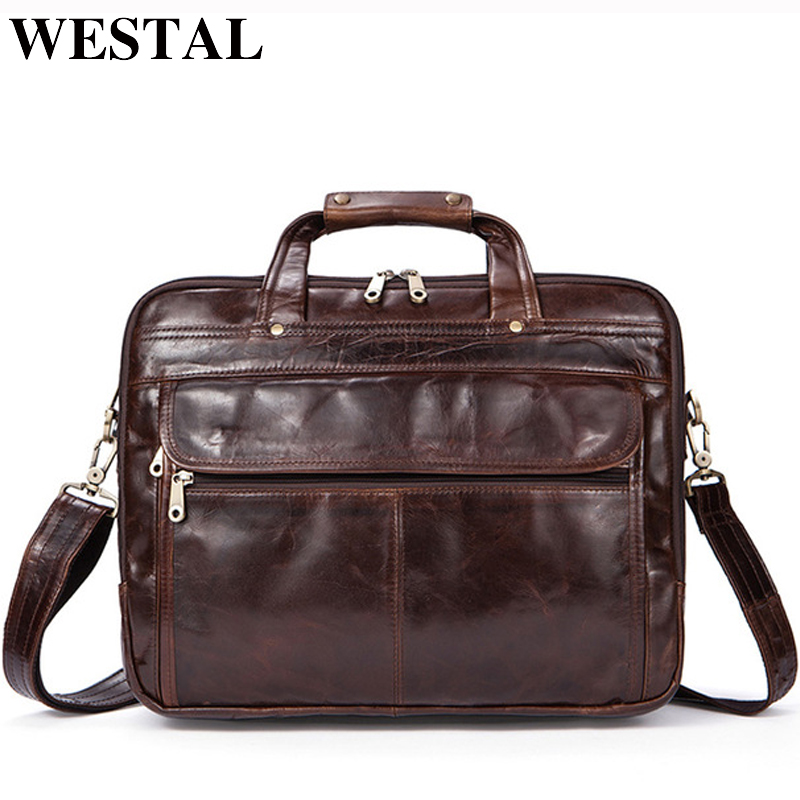 WESTAL Briefcases Men Handbag Genuine Leather Men Bag Business Bags Vintage Leather Briefcases Men Messenger Laptop Bag 9056