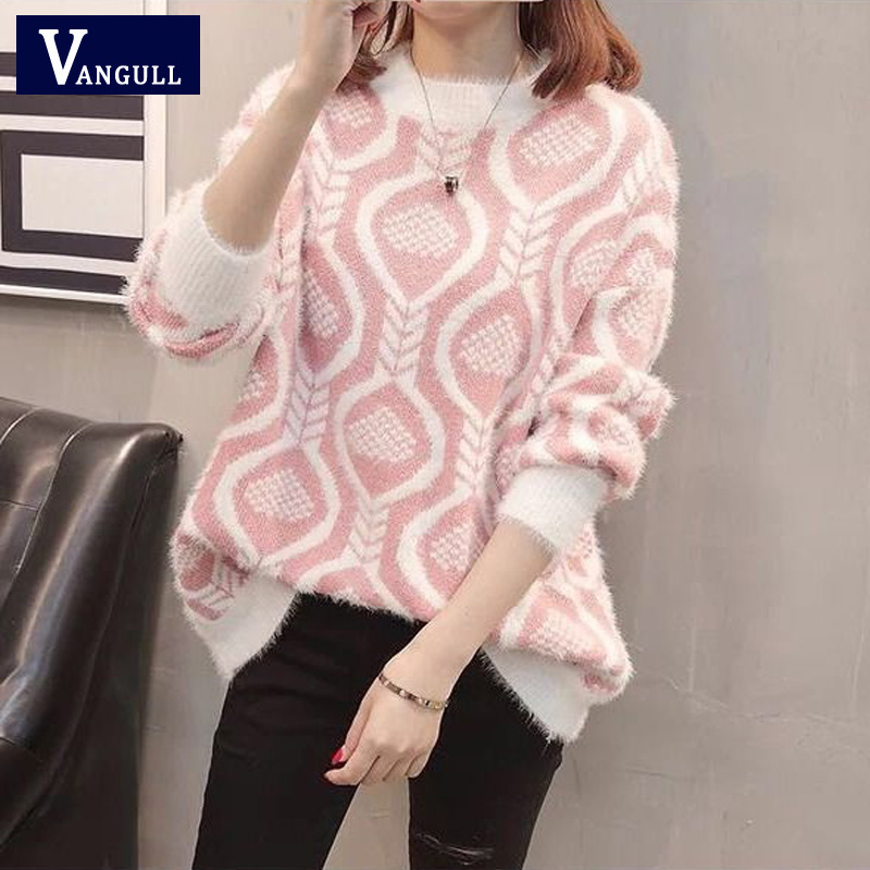 Vangull Spring Autumn Winter Warm Casual Women's Clothing O-Neck Long Sleeve Knitted Sweater Pullover Loose Jumper Tops Knitwear