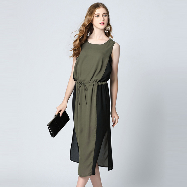 cc47c4df05ff Summer new Round neck sleeveless dress Loose stitching army green casual  chiffon dresses vestidos mujer