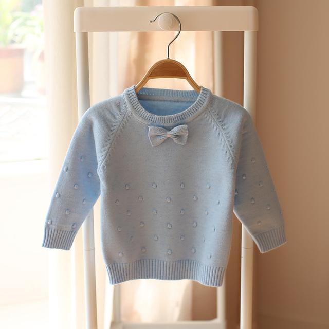 2017 primavera e no outono novo estilo meninas do bebê de malha camisola crianças moda bonito arco camisola