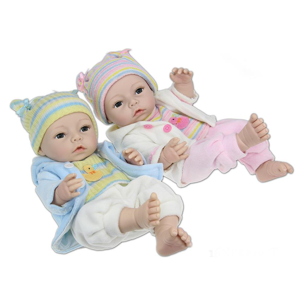 ФОТО ucanaan full silicone reborn baby doll 35-40cm body not soft painting hair dolls reborn toy with hat best gift to girl/boy play