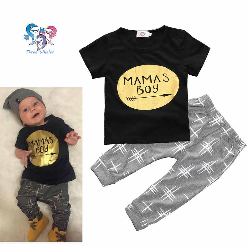 c9974b5b7 2016 New Born Baby Summer Brand Clothes Set Cotton Short Sleeve Shirt And  Pants Infant Boy