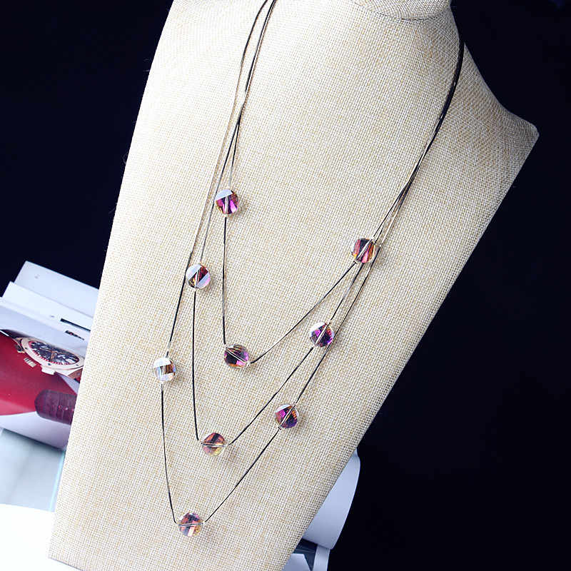 Three Layer Long Necklace For Women New Fashion Crystal Jewelry Wholesale Sweater Necklaces