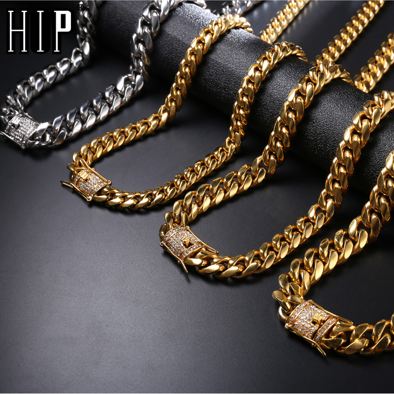 957f023d2a US $18.21 43% OFF|Hip Hop Bling Iced Out Rhinestone Clasp Miami Necklace  Mens Gold Silver 316L Stainless Steel Cuban Link Chain Necklaces Jewelry-in  ...