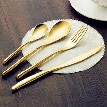 JANKNG 24 Karat Gold 4 Teile/satz Besteck Set Edelstahl Geschirr Besteck Messer Gabel Löffel Geschirr Geschirr Set Für 1