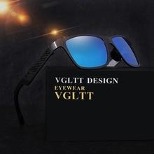 VGLTT Polarized Men Sunglasses Fashion Brand Desinger Square Mirror Sun Glasses Male HD lens Mirror With Box high quality