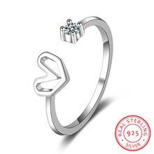 Кольцо Открытое из серебра 100% пробы с фианитом 5/6/7 дюймов