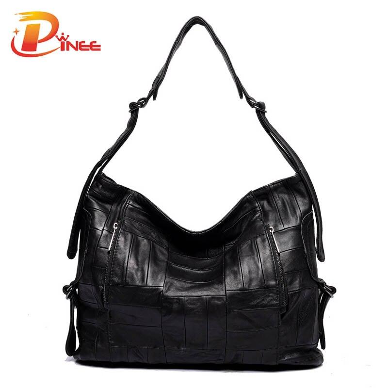 ФОТО 2016 Genuine Leather Women Handbag Sheepskin Leather Patchwork Casual Tote Famous Brand Messenger Bag