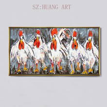 New hand-painted oil painting works of modern knife thick paintings rooster is prosperous decorators sofa hall