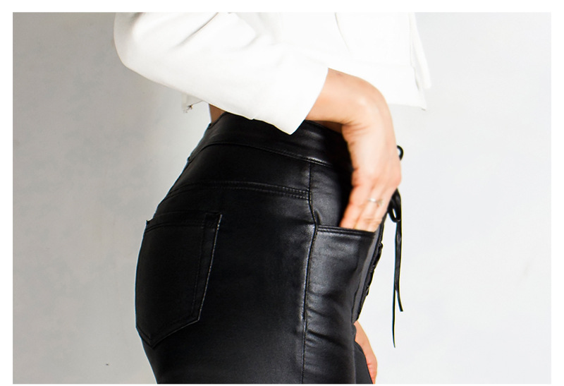19 Winter Plus Size Stretch PU Leather Pants For Women High Waist Joggers Womens Trousers Pencil Skinny Waisted Female Pants 39