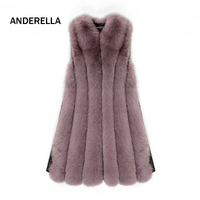 ANDERELLA real fox fur coat new of 2018 fashionable style OEM product sleeveless warm vest genuine fox fur women winter coat