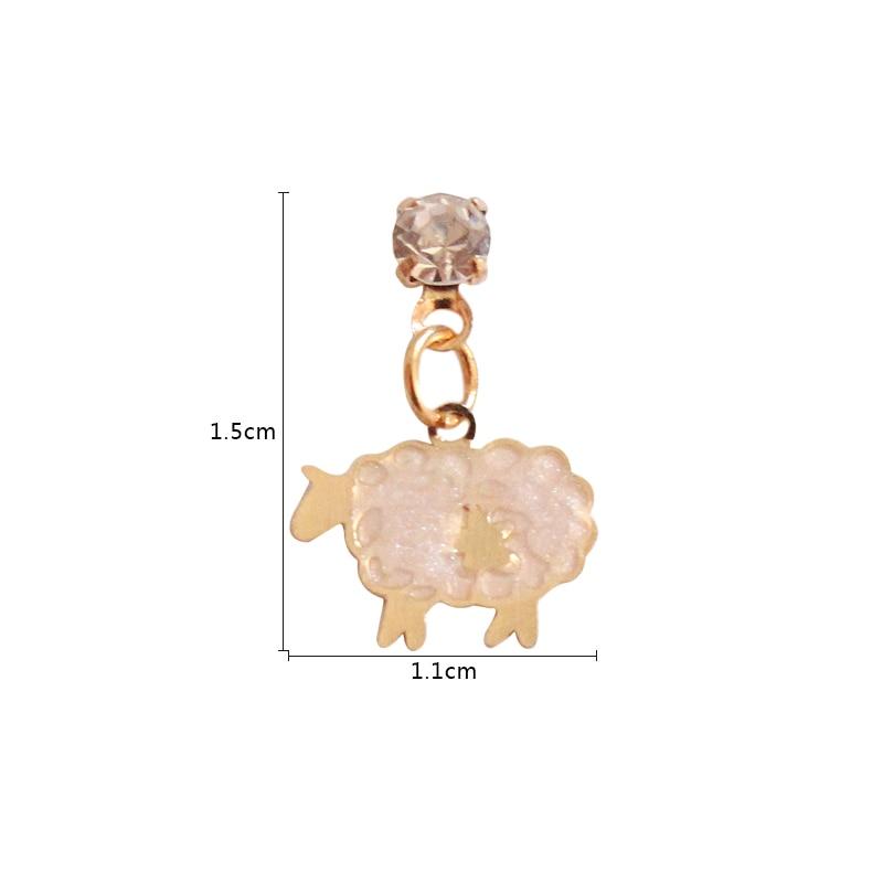 SANSUMMER 2019 New Alloy Cartoon Little Lamb Shape Casual Gold Ear Stud Cute Personality Fashionable Earrings For Women 5607 in Drop Earrings from Jewelry Accessories