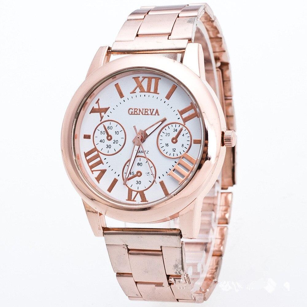 Hot Sale Wristwatch For Men Women Quartz Timer Alloy Watch Women Gold Rose