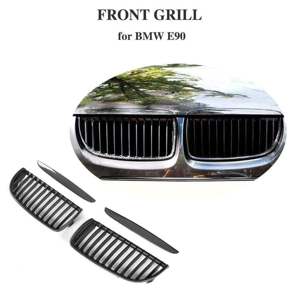 3 Series Front Mesh Grille Carbon Fiber Front Bumper Grill for BMW E90 Sedan 4 Door 2005 2008 320i 323i 325i 328i 330i 335i