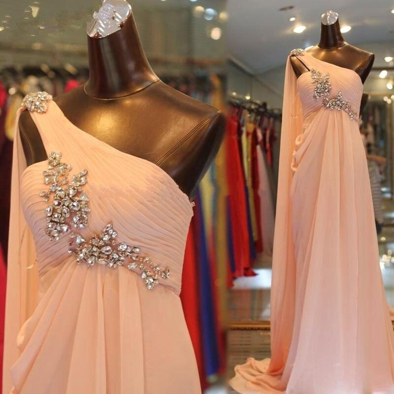 2017 élégant une épaule perlée une ligne longue soirée Robes de grande taille sans manches en mousseline de soie robe de bal Robes de soirée Robes de soirée