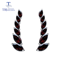 TBJ,natural gemstone garnet earrings simple elegant design 925 sterling silver fine jewelry for women wife daily wear