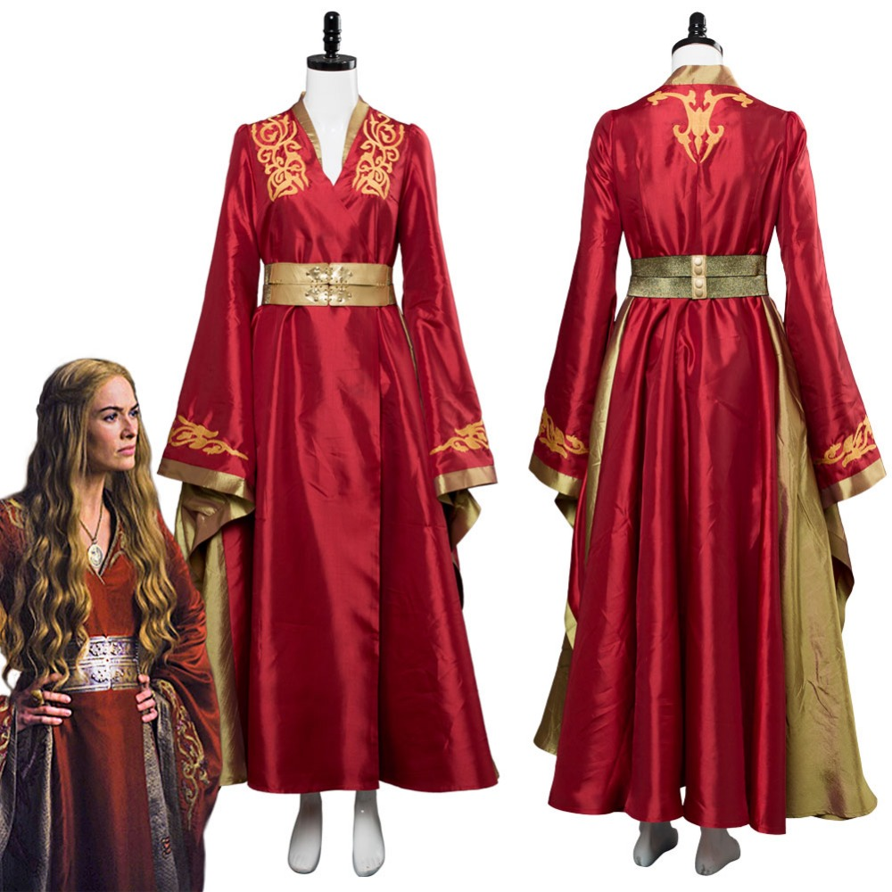 Game Of Thrones Queen Cersei Lannister Cosplay Costume Red Exclusive Adult Women Dress Halloween Carnival Cosplay Costumes