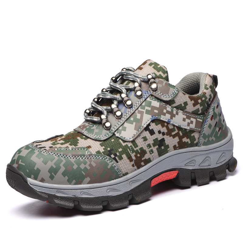 plus size men breathable camouflage steel toe caps working safety shoes platform anti-puncture building site dress tooling boots купить недорого в Москве