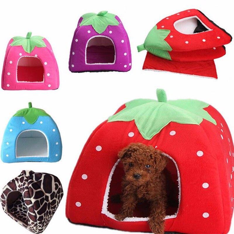 Lovely Pet Dog Cat Bed Winter Warm Soft Plush Sponge Strawberry Rabbit Bed House Kennel Doggy Cushion Basket