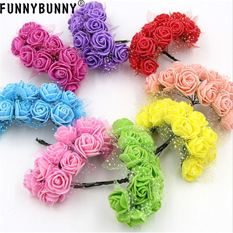 FUNNYBUNNY 12pcs Mini Artificial Roses DIY Wedding Flowers Accessories Make Bridal Hair Clips Headbands Dress bottom add gauze in Artificial Dried Flowers from Home Garden