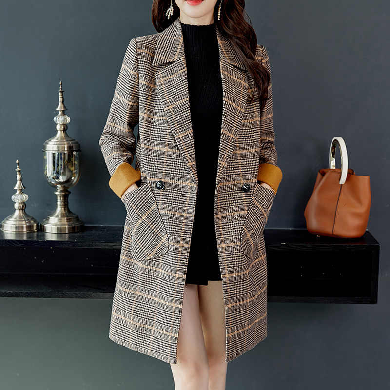 2019 Herfst Winter Wol Vrouwen Plaid Zakken Blends Kantoor Werk Lange Jassen Fashion Brand Lady Slim Revers Lange Mouwen Blends sexy