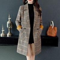 2018 осень зима шерсть для женщин плед Карманы смеси офисные длинные пальто модные брендовые женские Тонкий нагрудные с длинным рукаво