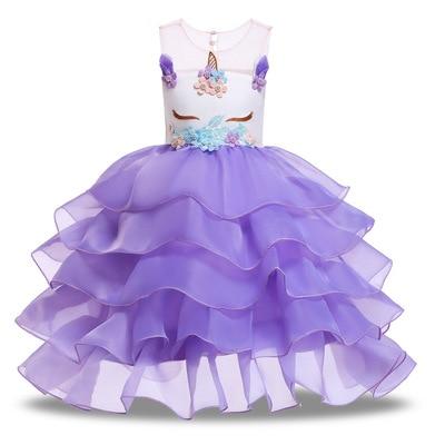 2019 Christmas Girls Kids Dresses For Girls Unicorn Party Dress Summer Wedding Dresses For Kids Cosplay Costumes