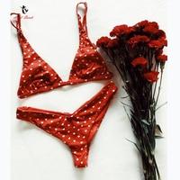 Ariel Sarah Bikini Set 2018 Sexy Swimsuit Swimwear Bathing Suit Women Red Bikinis Heart Print Beach