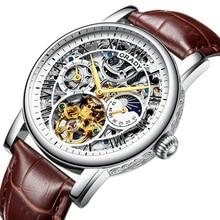 Скелет Мужские часы лучший бренд класса люкс автоматические механические часы спортивные водонепроницаемые черные бизнес пояса часы tourbillon