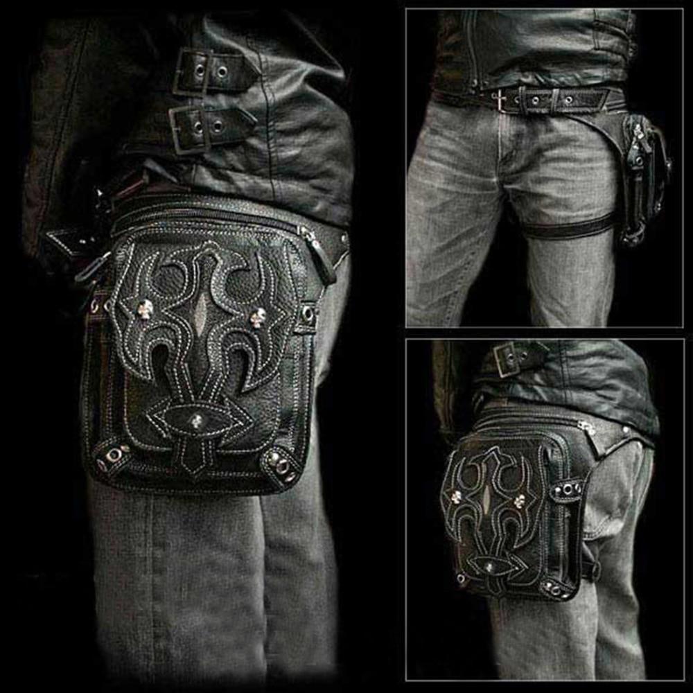 Norbinus PU Leather Men Waist Bags Motorcycle Thigh Hip Drop Leg Belt Bag Female Punk Rock Messenger Shoulder Crossbody Pack