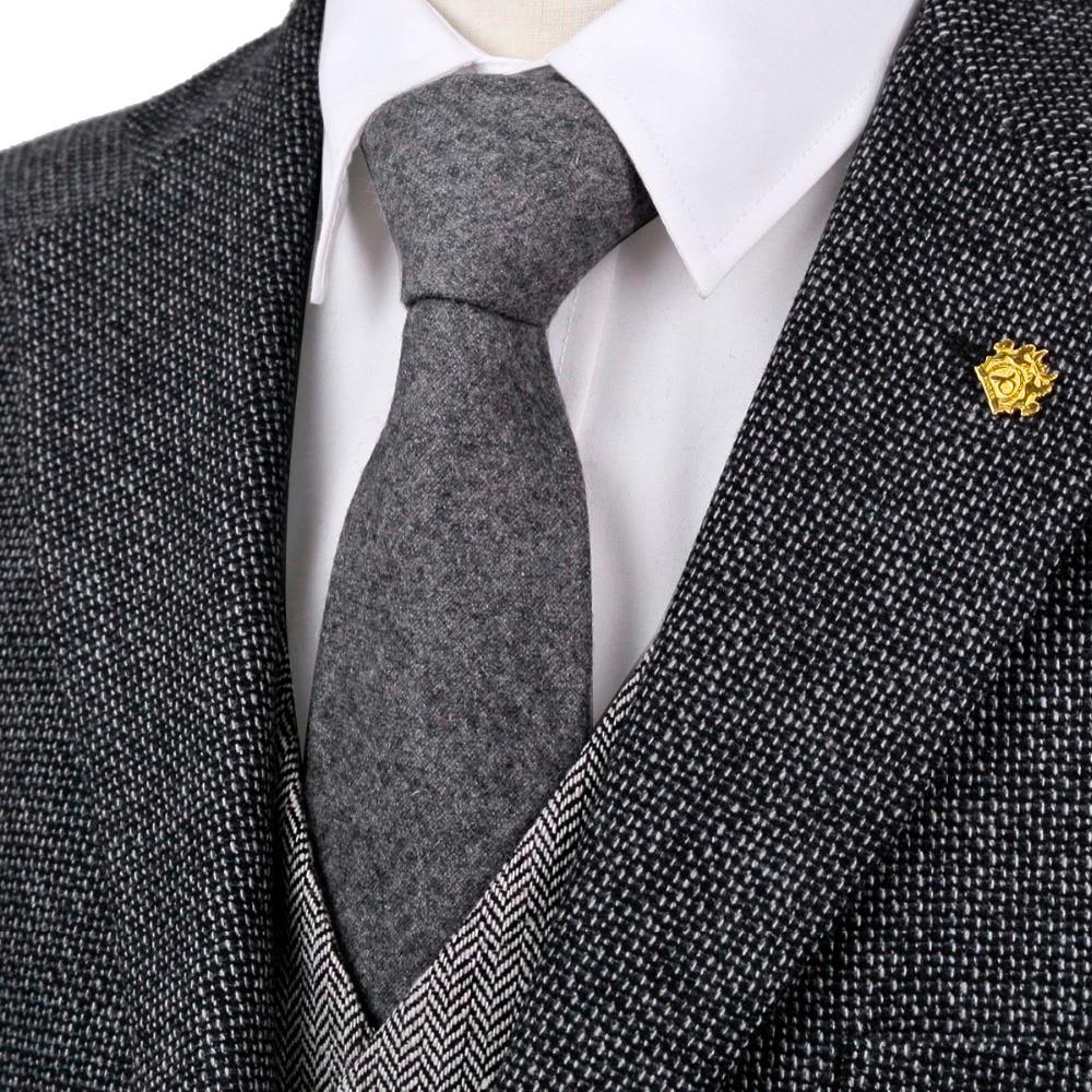 Craciun pentru bărbați cravată grea de lână gri gri solid de 7cm cadou din piele rafinat manual pentru bărbați Livrare gratuită nou sosire