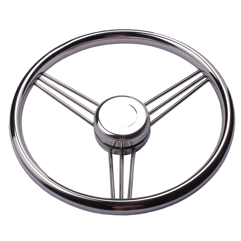 New Arrival Boat Accessories  Steering Wheel Stainless Steel 9 Spoke Knurling 13-1/2'' For Marine Yacht