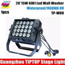 TIPTOP TP-W09 Большой Размер 6IN1 Водонепроницаемый Led Wall Washer Свет RGBWA Фиолетовый Этап Светодиодный Проектор IP65 Открытый 40 Градусов Объектив