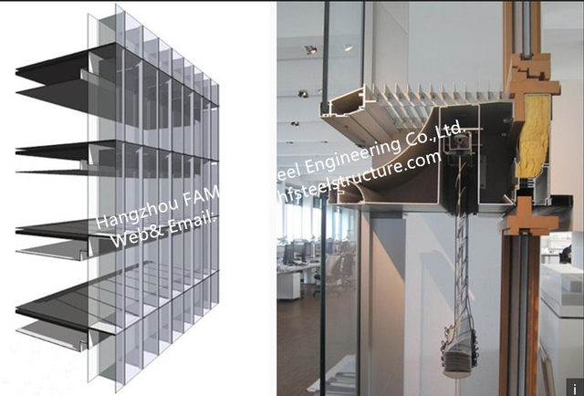 Double Skin Facade Glass Curtain Wall System With Thermal Insulated And Laminated