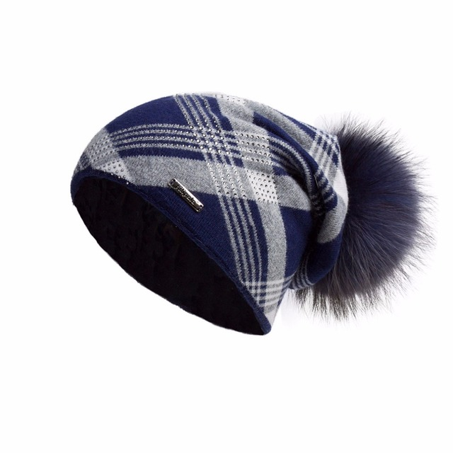 a2179b987342c Oversized Cashmere Slouchy Beanie Hat with Puff Real Fur Pompom for Women  Winter Warm Plaid Print Bobble Hat Fur Story 17603
