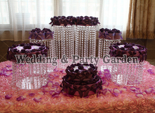 6pcs Crystal Acrylic Round cake Stand Round cake Display Tools Suitable for Christmas Wedding Birthday Craft D15,20,30,H35,25,15