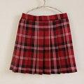 El nuevo campus estilo de talle alto Una Línea de falda dulce falda a cuadros falda plisada uniforme escolar para las niñas
