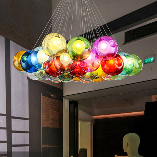 Creative Stained Glass Bubble Ball Chandelier Lighting Modern Dining Room Double Staircase Clothing Shop Cafe