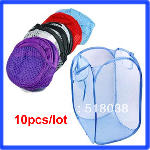 E74 10pcs/lot Foldable Storage Pop Up Laundry Hamper Clothes Basket