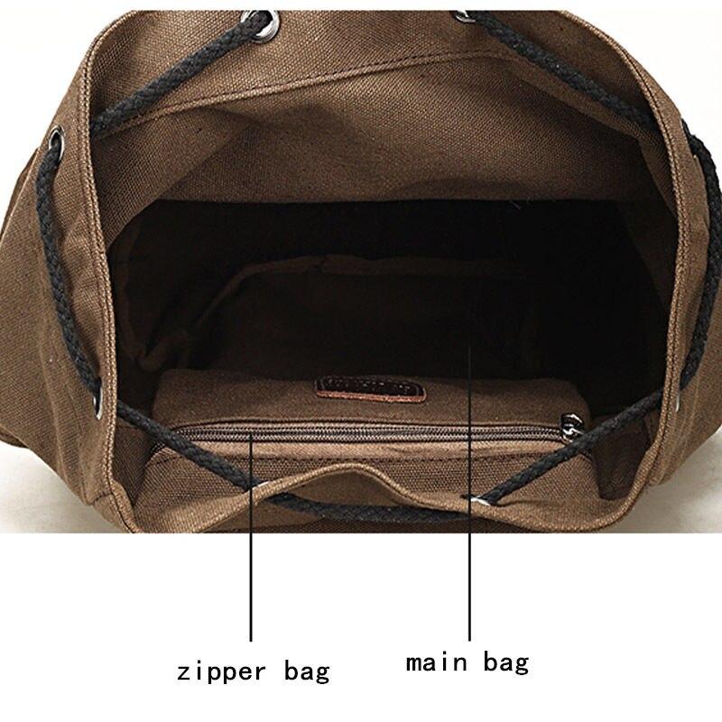Image 3 - Scione women's Canvas Backpack School Rucksack Men Drawstring Backpacks Women Travel Shoulder Bagpack Teenagers Laptop Back Pack-in Backpacks from Luggage & Bags