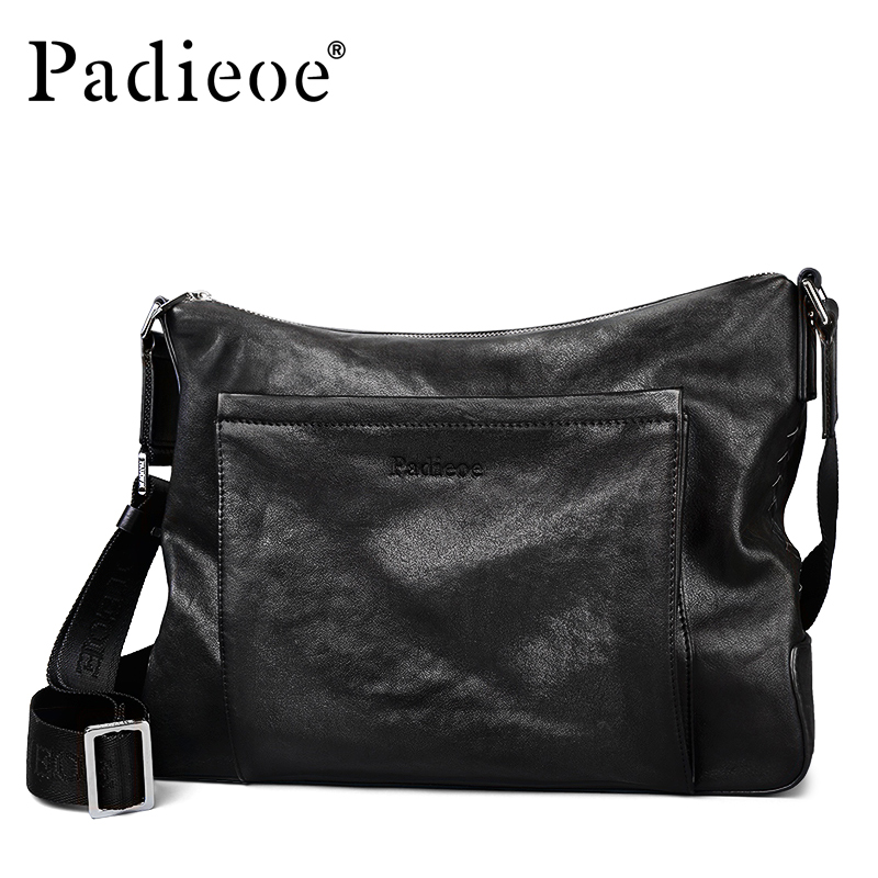 Padieoe Famous Brand Genuine Leather Shoulder Bag for Men Large Capacity Business Travel Leather Bag Casual Crossbody Flap Bags padieoe genuine leather business men s messenger bag casual shoulder crossbody bag for male famous brand fashion travel men bags