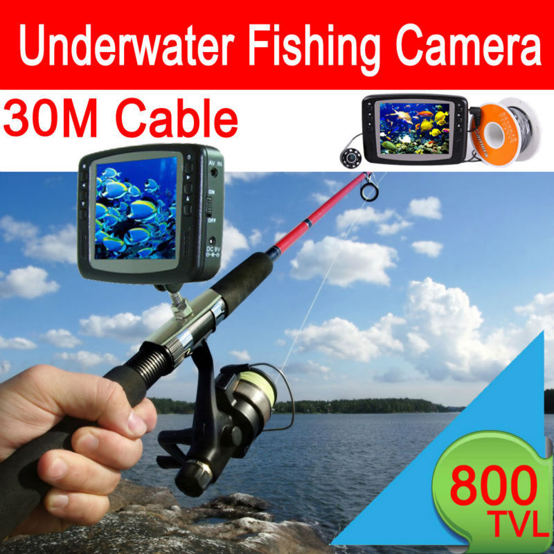 30 meter Cable underwater camera for fishing Waterproof video Surveillance Monitoring System 3.5'' Color LCD Monitor 8 LED Light 8pcs led light fishing breeding monitoring 600tvl camera with 15m cable work for new 3 5 inch lcd underwater video camera system