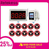 Wireless Waiter Service Call System Receiver Host Voice Display+2 Watch Receiver Host Guest +10 Call Transmitter Button