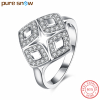 New Fashion 100 Real 925 Sterling Silver Engagement Ring Big Crystal Rings With Clear White CZ